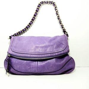 B.Makowsky Purple Leather Shoulder Bag